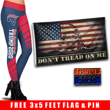Load image into Gallery viewer, Pre-Release Limited Edition Trump 2020 KAG - Leggings - USA Colorway + DTOM USA Flag and Trump 2020 Pin