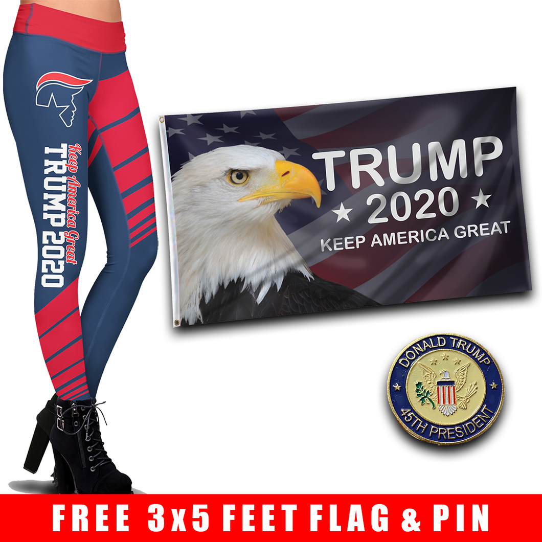 Pre-Release Limited Edition Trump 2020 KAG - Leggings - USA Colorway + KAG Eagle Flag and 45th President Trump Pin