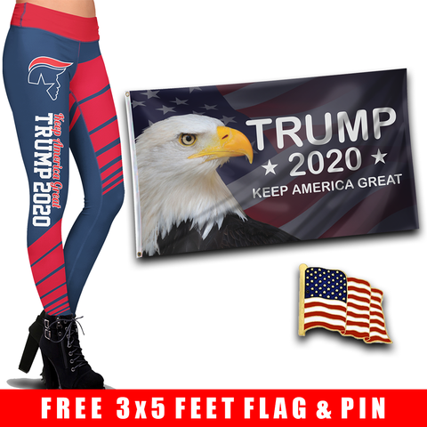 Pre-Release Limited Edition Trump 2020 KAG - Leggings - USA Colorway + KAG Eagle Flag and American Flag Lapel Pin