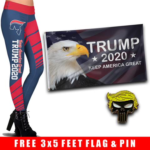 Pre-Release Limited Edition Trump 2020 KAG - Leggings - USA Colorway + KAG Eagle Flag and Trump Punisher Pin