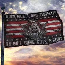 Load image into Gallery viewer, Born Raised And Protected By God Guns Guts And Glory - 2nd Amendment Flag (NEW)