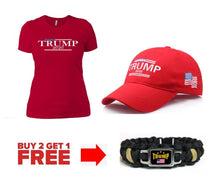 Load image into Gallery viewer, Trump 2020 USA Flag Womens T Shirt and Hat + Free Trump Paracord Bracelet Combo Deal