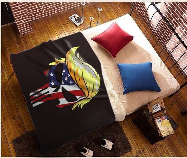 Punisher Trump USA Sherpa Blanket 50x60 + Free Matching 3x5 Single Reverse Flag