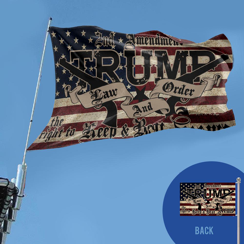 **PREMIUM DOUBLE-SIDED** Trump 2020 Law and Order 2nd Amendment Guns Flag