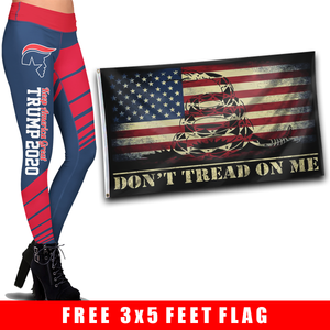 Pre-Release Limited Edition Trump 2020 KAG - Leggings - USA Colorway + 3x5 Don't Tread On Me USA Flag