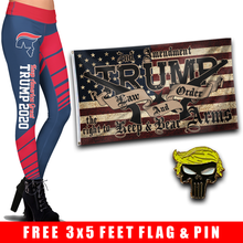 Load image into Gallery viewer, Pre-Release Limited Edition Trump 2020 KAG - Leggings - USA Colorway + Trump LNO Flag and Trump Punisher Pin