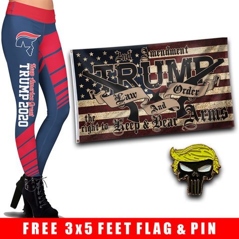 Pre-Release Limited Edition Trump 2020 KAG - Leggings - USA Colorway + Trump LNO Flag and Trump Punisher Pin