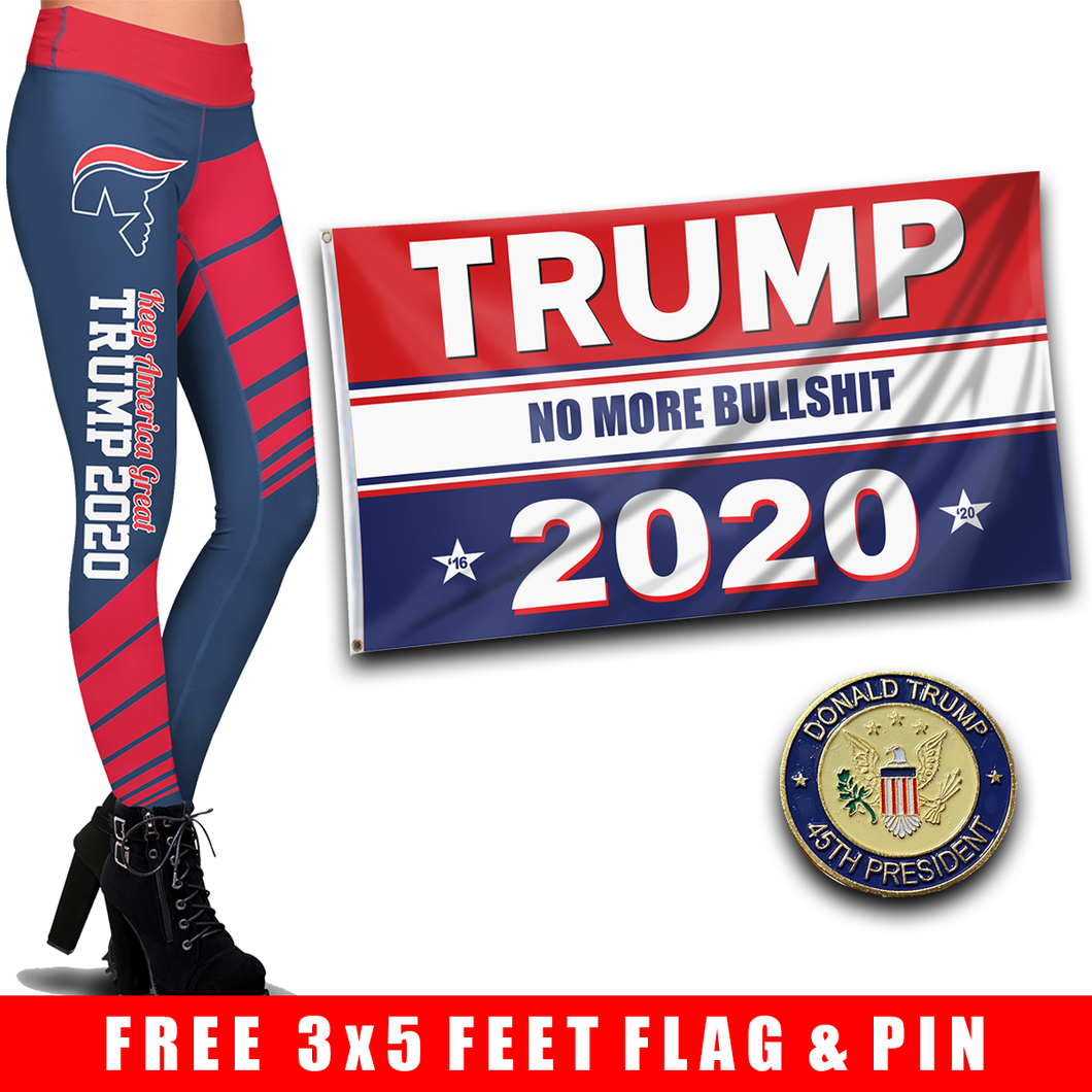 Pre-Release Limited Edition Trump 2020 KAG - Leggings - USA Colorway + Trump No More Bullsh*t Flag  and 45th President Trump Pin