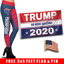 Load image into Gallery viewer, Pre-Release Limited Edition Trump 2020 KAG - Leggings - USA Colorway + Trump No More Bullsh*t Flag  and American Flag Lapel Pin