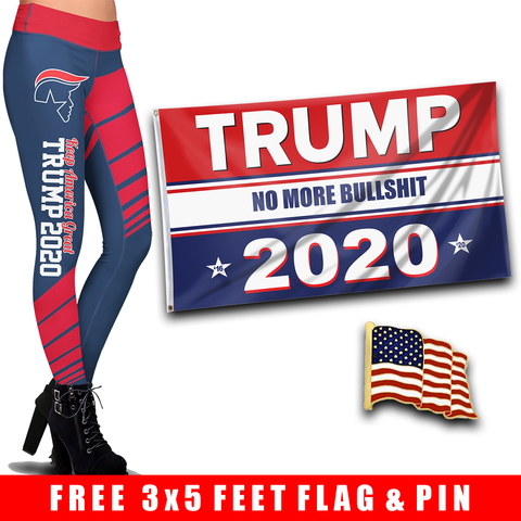 Pre-Release Limited Edition Trump 2020 KAG - Leggings - USA Colorway + Trump No More Bullsh*t Flag  and American Flag Lapel Pin