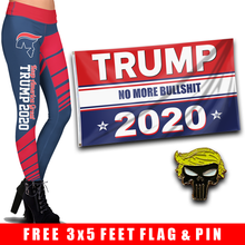 Load image into Gallery viewer, Pre-Release Limited Edition Trump 2020 KAG - Leggings - USA Colorway + Trump No More Bullsh*t Flag  and Trump Punisher Pin