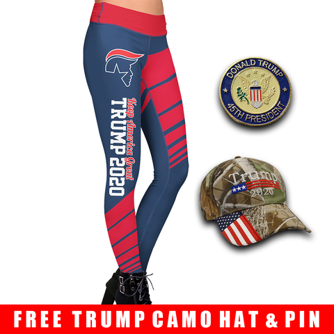 Pre-Release Limited Edition Trump 2020 KAG - Leggings - USA Colorway + 45th President Trump Pin and Trump Camo Hat