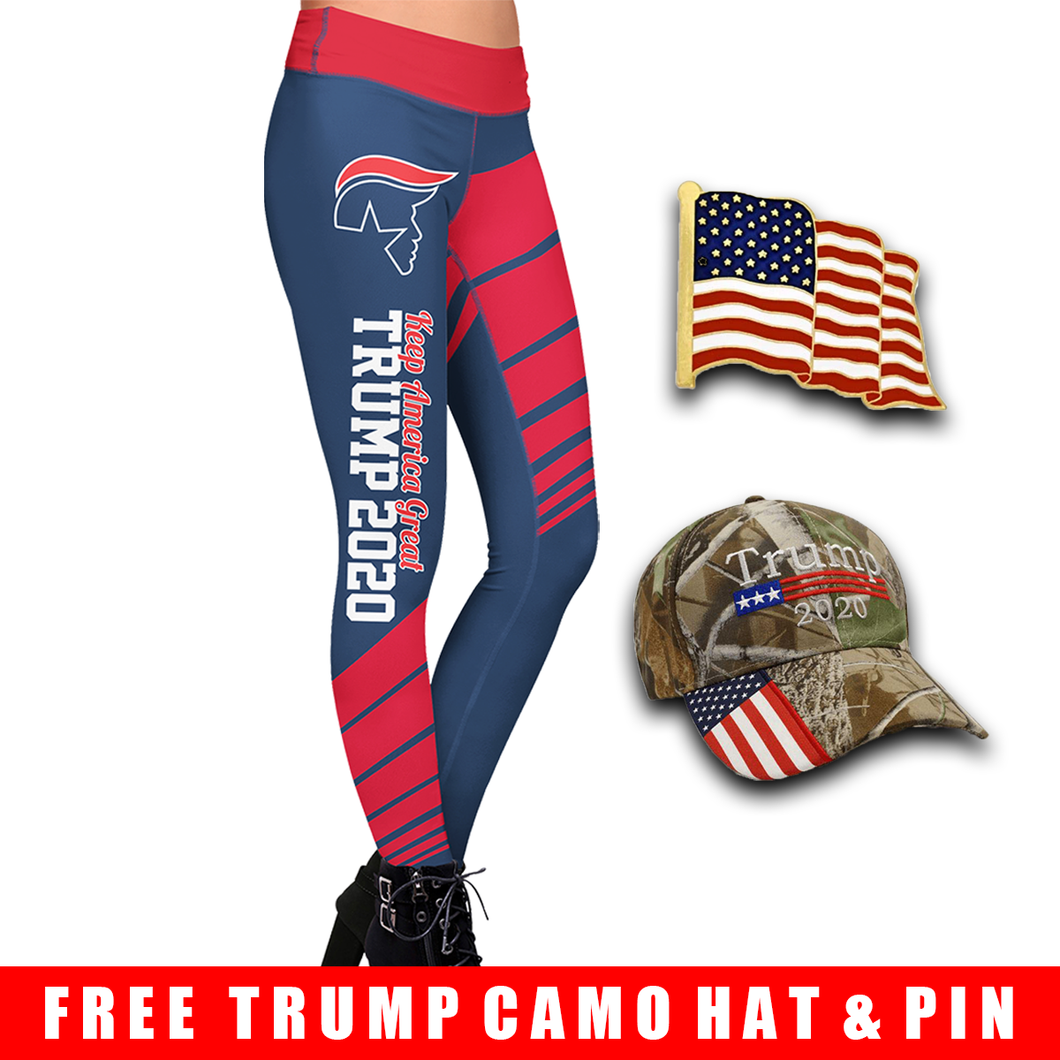 Pre-Release Limited Edition Trump 2020 KAG - Leggings - USA Colorway + American Flag Lapel Pin and Trump Camo Hat