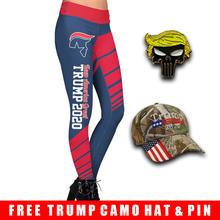 Load image into Gallery viewer, Pre-Release Limited Edition Trump 2020 KAG - Leggings - USA Colorway + Trump Punisher Pin and Trump Camo Hat