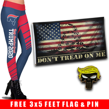 Load image into Gallery viewer, Pre-Release Limited Edition Trump 2020 KAG - Leggings - USA Colorway + DTOM USA Flag and Trump Punisher Pin