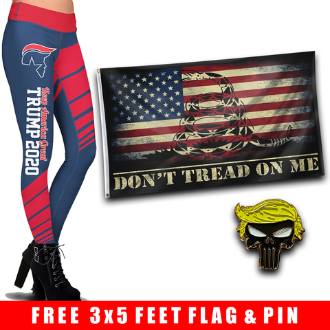 Pre-Release Limited Edition Trump 2020 KAG - Leggings - USA Colorway + DTOM USA Flag and Trump Punisher Pin