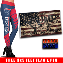 Load image into Gallery viewer, Pre-Release Limited Edition Trump 2020 KAG - Leggings - USA Colorway + Trump LNO Flag and Trump 2020 Pin