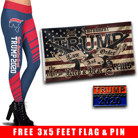 Pre-Release Limited Edition Trump 2020 KAG - Leggings - USA Colorway + Trump LNO Flag and Trump 2020 Pin
