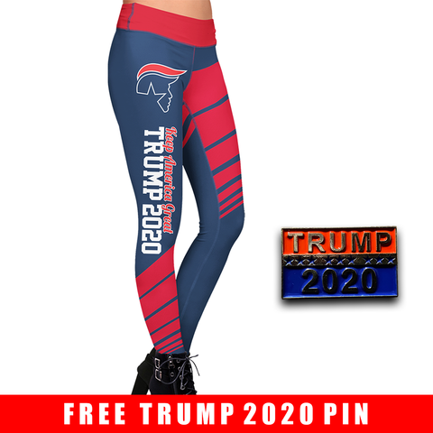 Pre-Release Limited Edition Trump 2020 KAG - Leggings - USA Colorway + Trump 2020 Pin