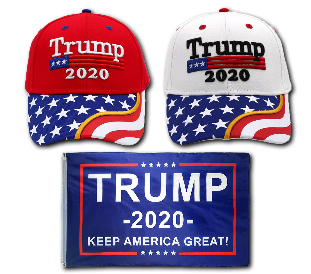 Trump 2020 Red Flag Bill and White Flag Bill Hats - 2 Trump Hat + FREE Trump2020 Keep America Great Rally Flag Combo Deal