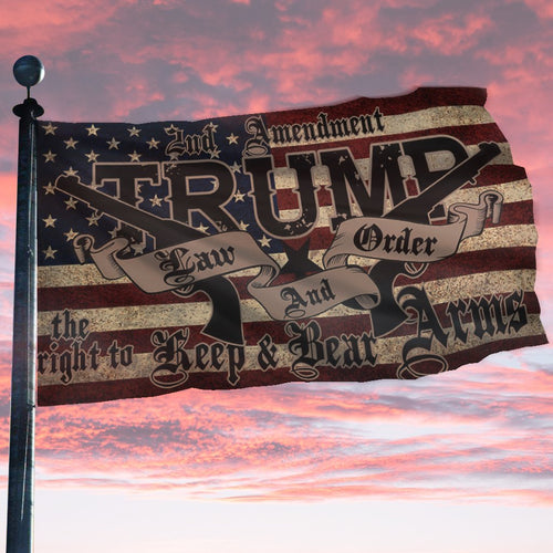 TRUMP 2020 LAW & ORDER 2nd AMENDMENT GUNS FLAG (NEW)
