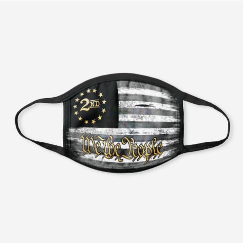 We The People - Gold - 2nd Amendment Flag - Black Cotton Face Cover