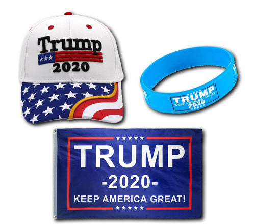Trump 2020 White Flag Bill Hat - USA Flag Trump Hat  and Trump Rally Bracelet + Free Trump Rally Flag Combo Deal