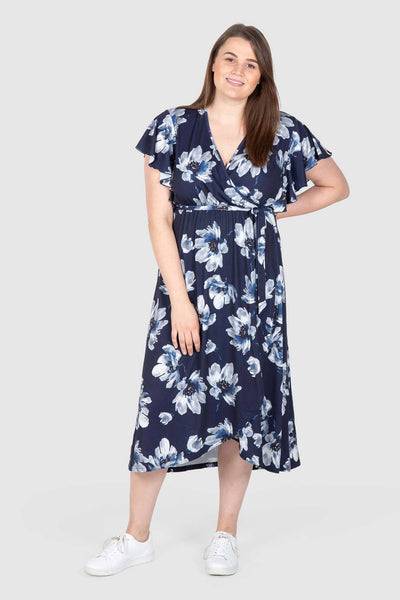 Florence Floral Knit Wrap Knit Dress - Navy, Love Your Wardrobe, women's plus size dresses