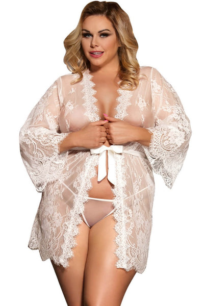 Meredith White Robe, Bras By S, women's plus size lingerie