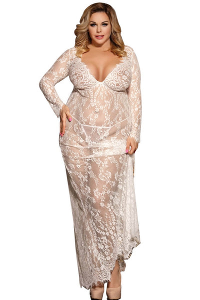 Mia White Gown, Bras By S, women's plus size lingerie
