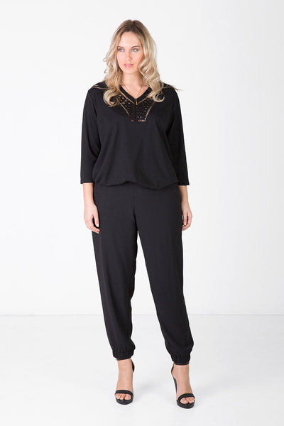 Flat Front Relaxed Pant - Black, Love Your Wardrobe, women's plus size pants