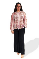 Primrose Pleated Blouse - Pink Snake Print, Monica The Label, women's plus size tops