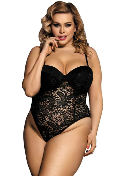Stephanie Black Bodysuit, Bras By S, women's plus size lingerie