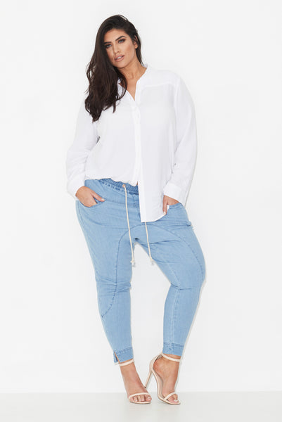 RUNWAYS DROP CROTCH DENIM JOGGERS, 17 Sundays, women's plus size joggers