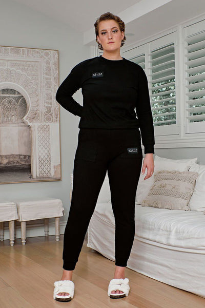 Comfort Queen - Top and Pant Separates - Midnight Black, Monica The Label, women's plus size loungewear