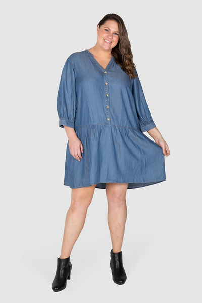 Ruby Drop Waist Chambray Dress - Dark Indigo, Love Your Wardrobe, women's plus size dresses
