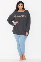 17 LOGO SWEAT TOP – CHARCOAL, 17 Sundays, women's plus size Sweat Top