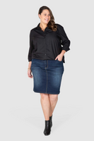 Kira Stretch Denim Skirt - Dark Indigo, Love Your Wardrobe, women's plus size skirts