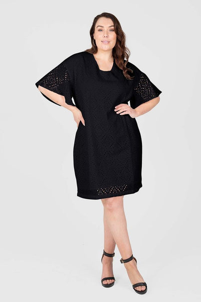 Kira Eyelet Dress - Black, Love Your Wardrobe, women's plus size dresses