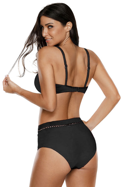 Peach Black Swimwear Set
