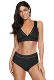 Peach Black Swimwear Set, Bras By S, women's plus size swimwear