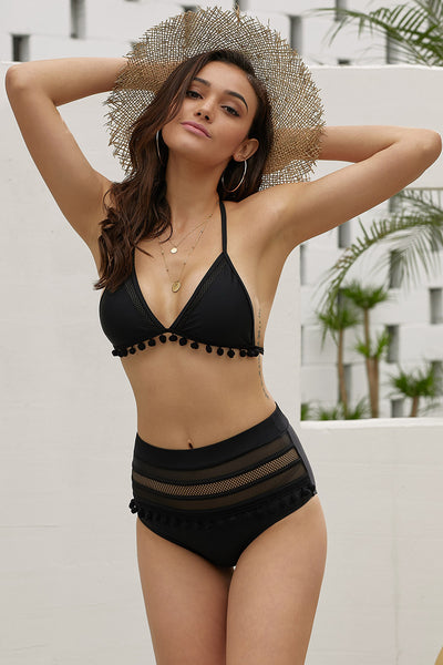 Petal Black Swimwear Set