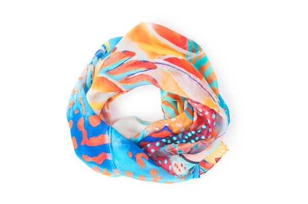 SCARF BEAUTIES OF THE DEEP 100% SILK, Coral & Co, Coral and Co, women's scarf