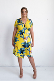Hollywood Wrap Dress - Yellow Floral Print, Monica The Label, women's plus size dresses
