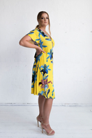 Hollywood Wrap Dress - Yellow Floral Print