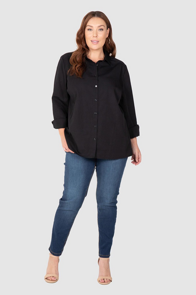 Cotton Overshirt - Black, Love Your Wardrobe, women's plus size shirts