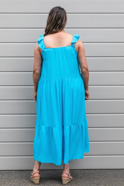 Jaslyn High Volume Dress - Aqua