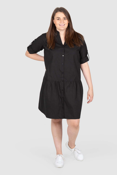 Maddison Drop Waist Shirt Dress - Black, Love Your Wardrobe, women's plus size dresses