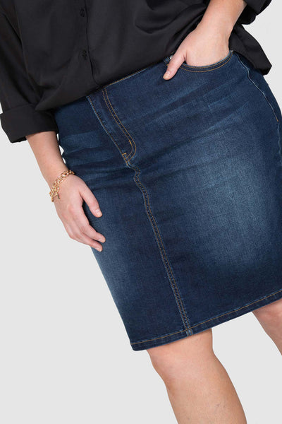 Kira Stretch Denim Skirt - Dark Indigo