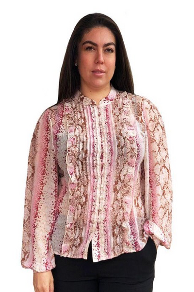 Primrose Pleated Blouse - Pink Snake Print